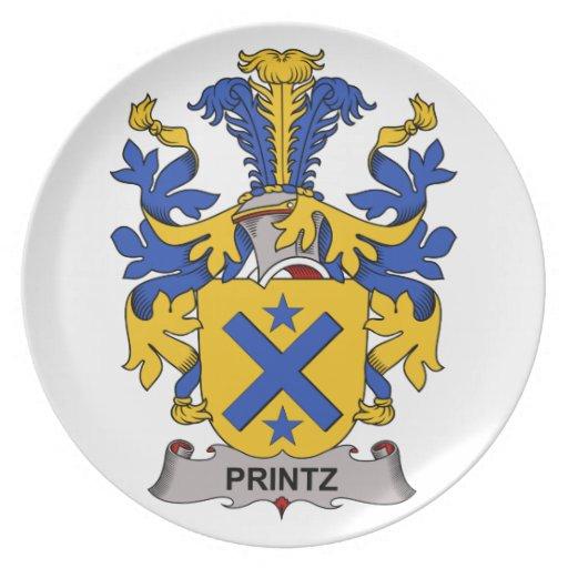 Escudo de la familia de Printz Plato De Cena