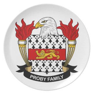 Escudo de la familia de Proby Plato Para Fiesta