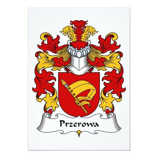 Escudo de la familia de Przerowa Invitación 12,7 X 17,8 Cm