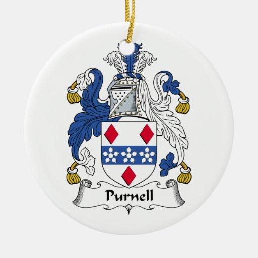 Escudo de la familia de Purnell Ornaments Para Arbol De Navidad