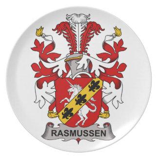 Escudo de la familia de Rasmussen Plato Para Fiesta