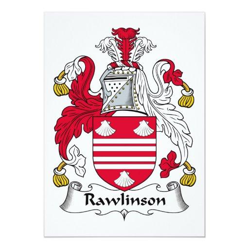 Escudo de la familia de Rawlinson Invitación 12,7 X 17,8 Cm
