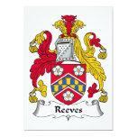 Escudo de la familia de Reeves Invitación 12,7 X 17,8 Cm