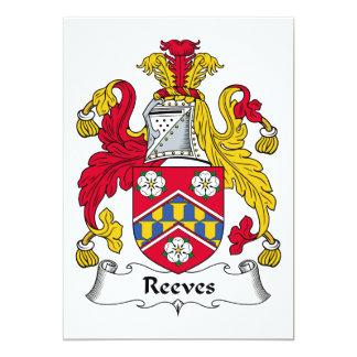 """Escudo de la familia de Reeves Invitación 5"""" X 7"""""""