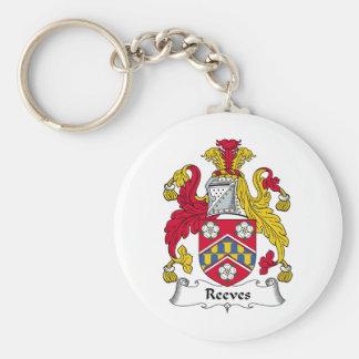 Escudo de la familia de Reeves Llavero Redondo Tipo Pin