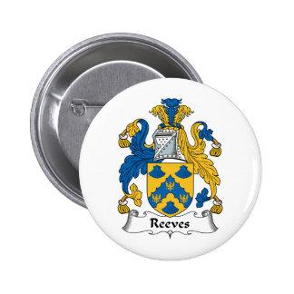 Escudo de la familia de Reeves Pin Redondo De 2 Pulgadas