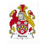 Escudo de la familia de Reeves Tarjeta Postal