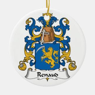 Escudo de la familia de Renaud Adorno Navideño Redondo De Cerámica