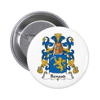 Escudo de la familia de Renaud Pin Redondo De 2 Pulgadas