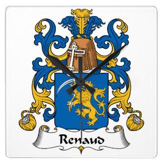 Escudo de la familia de Renaud Reloj Cuadrado