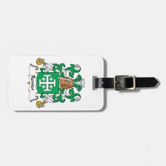Escudo de la familia de Renier Etiquetas De Equipaje