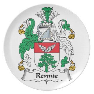 Escudo de la familia de Rennie Platos De Comidas