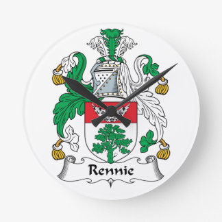 Escudo de la familia de Rennie Relojes De Pared