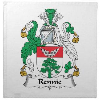 Escudo de la familia de Rennie Servilleta Imprimida