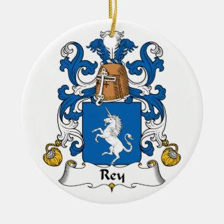 Escudo de la familia de Rey Adorno Navideño Redondo De Cerámica