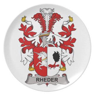 Escudo de la familia de Rheder Platos Para Fiestas