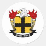 Escudo de la familia de Rhett Pegatina Redonda
