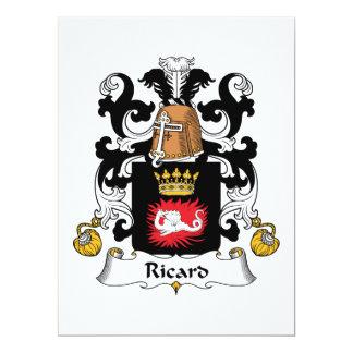 Escudo de la familia de Ricard Invitación 16,5 X 22,2 Cm