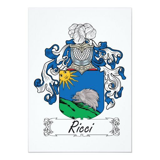 """Escudo de la familia de Ricci Invitación 5"""" X 7"""""""