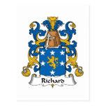 Escudo de la familia de Richard Tarjeta Postal