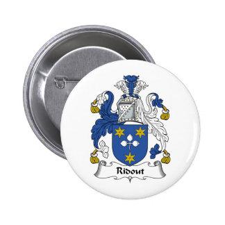 Escudo de la familia de Ridout Pin Redondo De 2 Pulgadas