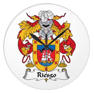 Escudo de la familia de Riesgo Reloj Redondo Grande
