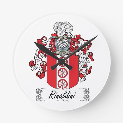 Escudo de la familia de Rinaldini Relojes De Pared