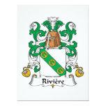 Escudo de la familia de Riviere Invitación 16,5 X 22,2 Cm
