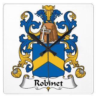 Escudo de la familia de Robinet Reloj Cuadrado