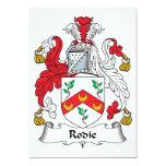 Escudo de la familia de Rodie Invitación 12,7 X 17,8 Cm