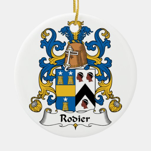 Escudo de la familia de Rodier Adorno Redondo De Cerámica