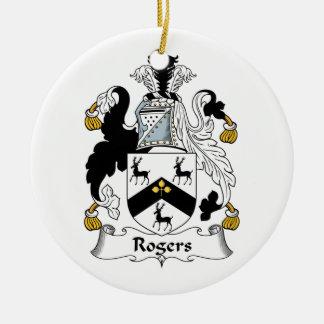 Escudo de la familia de Rogers Adorno Navideño Redondo De Cerámica