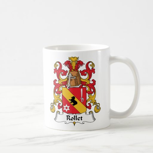 Escudo de la familia de Rollet Tazas De Café