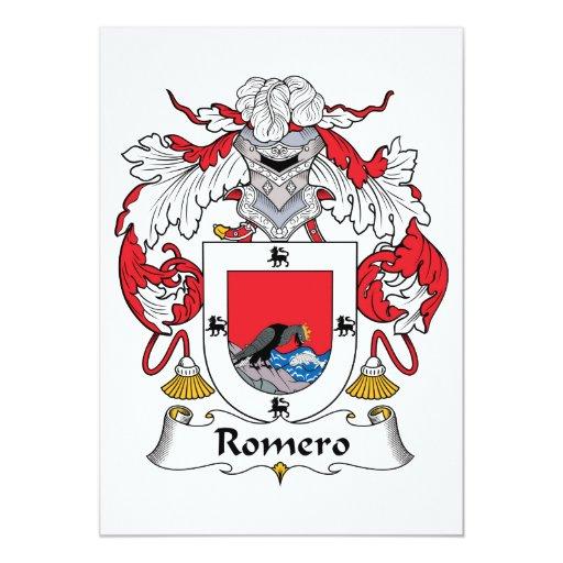 """Escudo de la familia de Romero Invitación 5"""" X 7"""""""
