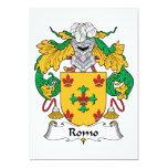 Escudo de la familia de Romo Invitación 12,7 X 17,8 Cm