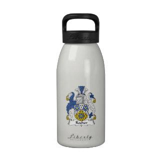 Escudo de la familia de Rosher Botella De Beber