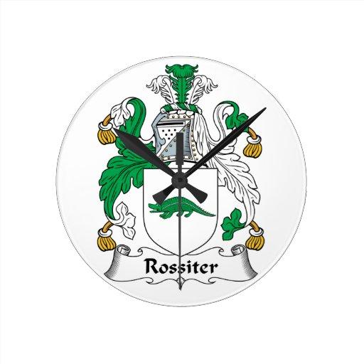 Escudo de la familia de Rossiter Reloj De Pared
