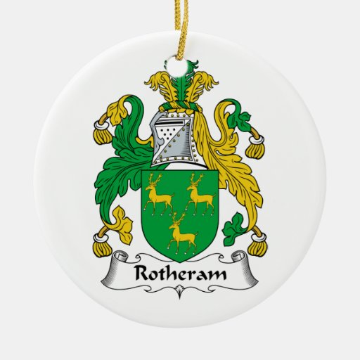Escudo de la familia de Rotheram Adorno Navideño Redondo De Cerámica