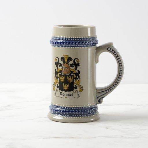 Escudo de la familia de Roussel Tazas De Café