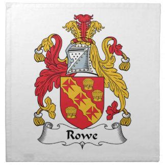 Escudo de la familia de Rowe Servilleta Imprimida