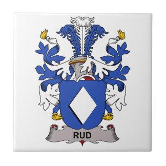 Escudo de la familia de Rud Azulejo Cuadrado Pequeño