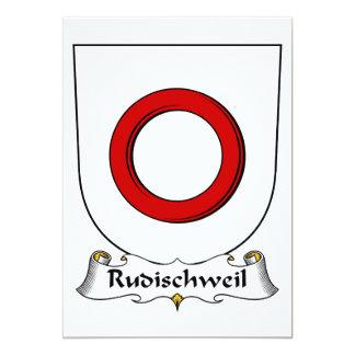 """Escudo de la familia de Rudischweil Invitación 5"""" X 7"""""""