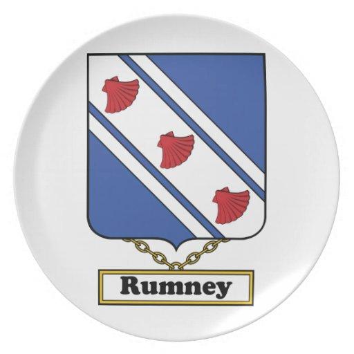 Escudo de la familia de Rumney Platos Para Fiestas