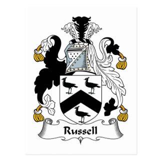 Escudo de la familia de Russell Tarjeta Postal