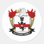 Escudo de la familia de Rutgers Pegatinas Redondas