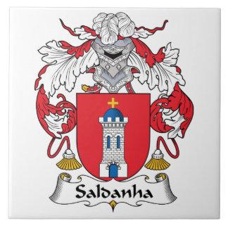 Escudo de la familia de Saldanha Azulejo Cuadrado Grande