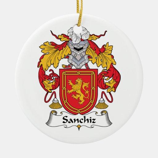 Escudo de la familia de Sanchiz Adorno Navideño Redondo De Cerámica