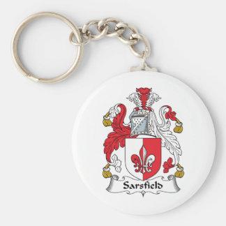 Escudo de la familia de Sarsfield Llavero Redondo Tipo Pin
