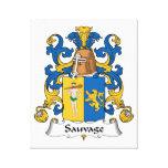 Escudo de la familia de Sauvage Lienzo Envuelto Para Galerias