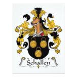 Escudo de la familia de Schallen Invitación 16,5 X 22,2 Cm